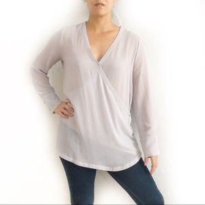 Ro & De Gauzy Semi Sheer Wrap Front Tunic Blouse